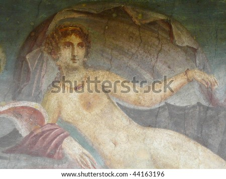 Ancient painted wall fresco of Venus at the ancient Roman city of Pompeii, which was destroyed and buried by ash during the eruption of Mount Vesuvius in 79 AD