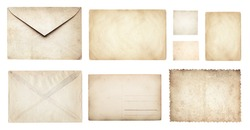 Ancient papers collection: letterhead, envelope, postcard, postage stamp, tag label, old paper blank isolated on white background. Retro style design.