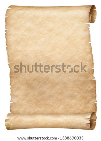 Ancient papyrus or parchment scroll isolated on white