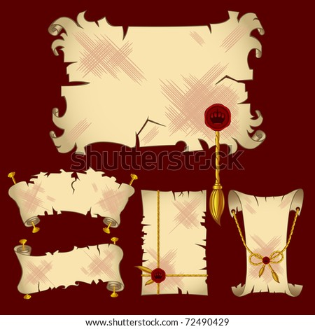 Ancient parchment scroll banners with royal details (see eps version in my portfolio)