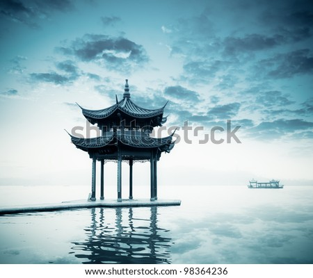 ancient pavilion on the west lake in hangzhou,China.