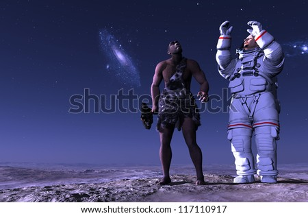 Ancient people and astronaut against the evening landscape.