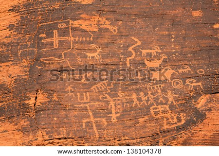 Ancient Petroglyphs in the Valley of Fire, Nevada, USA