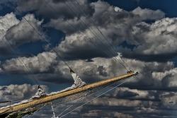 Ancient pirate ship sailing