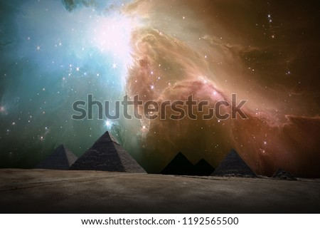 Stock Photo Ancient Places Backgrounds - Pyramids under Night Sky