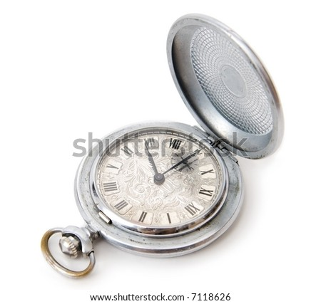 Ancient pocket watch. Isolated on white.