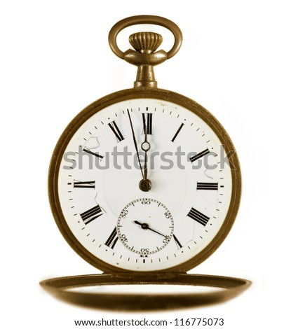 Ancient pocket watch on white background.