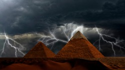 Ancient Pyramids of Giza at night thunderstorm against the powerful lightning strikes in dramatic cloudy sky, Egypt. Fantastic background, beautiful dunes in desert