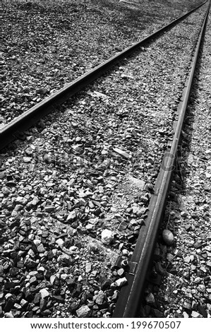 Ancient railway line, black and white