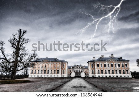 ancient residence and lightning