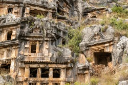 Ancient ,rock-cut lycian tombs in Demre, Myra , Turkey
