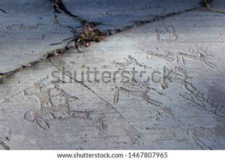 Ancient rock engraving in Camonica Valley, Naquane National Park, hunters of stags, UNESCO World Heritage Site, Italy.  #1467807965