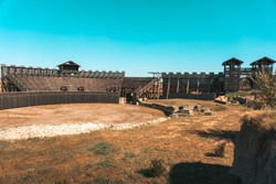 Ancient Roman amphitheater at an archeological site Viminacium in Serbia