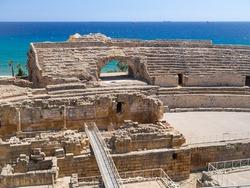 Ancient Roman Amphitheatre of Tarragona and the Mediterranean Sea. Catalonia, Spain.