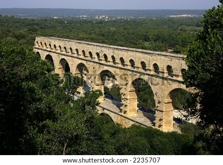 Ancient Roman aquaduct at the Pont du Gard in the south of France