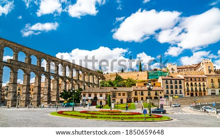 Ancient roman aqueduct of Segovia in Castile and Leon, Spain stock photo