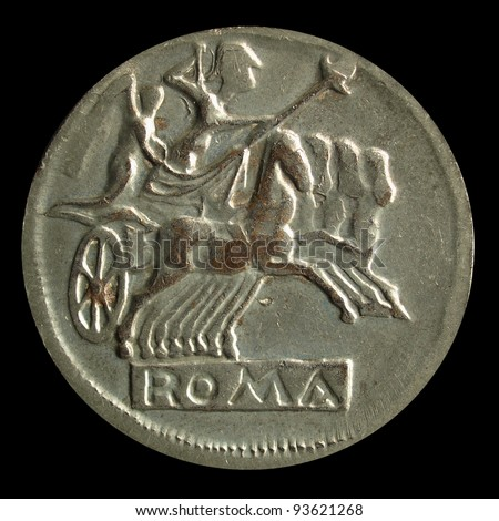 Ancient Roman coin on a black background