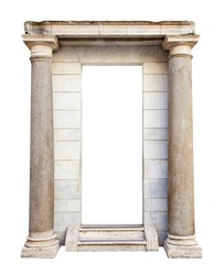 Ancient roman entrance with columns isolated on white background