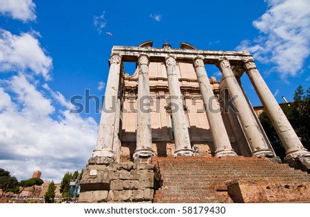 Ancient Roman Forum with blue sky