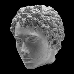 Ancient roman marble portrait of a boy. Young man head statue isolated on black background. Antique sculpture.