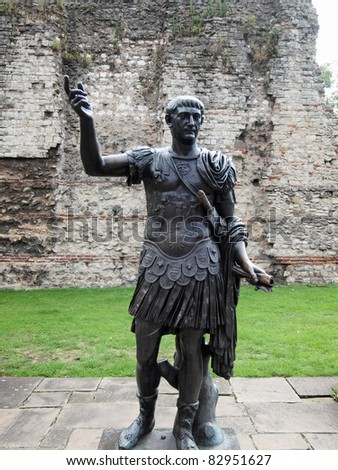 Ancient Roman monument of the Emperor Trajan London UK