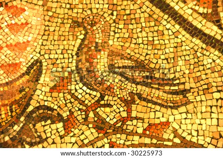ancient roman mosaic of a bird possibly a wading bird executed in golden tiles