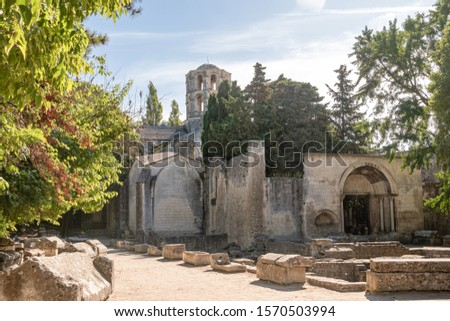 Ancient, roman necropolis Les Alyscamps in Arles, Provence, Southern France Stock photo ©