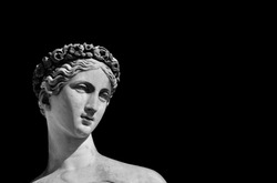Ancient Roman or Greek goddess marble statue (Black and White with copy space)