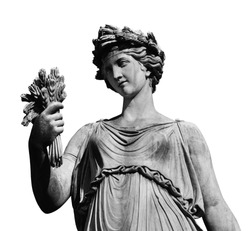 Ancient Roman or Greek neoclassical statue holding wheat in Rome (isolated on white background)