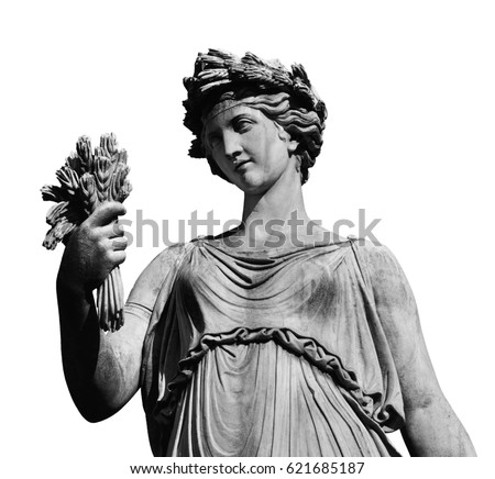 Ancient Roman or Greek neoclassical statue holding wheat in Rome (isolated on white background) #621685187