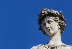 Ancient Roman or Greek neoclassical statue in Rome (with copy space)