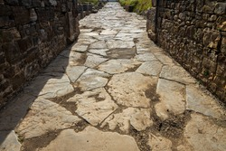 Ancient Roman road. Street in the Roman ruins of Baelo Claudia, located near Tarifa. Andalucia. Spain.