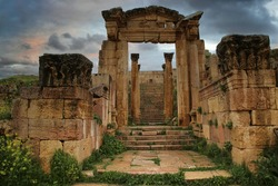 Ancient roman ruins in the city of Jerash