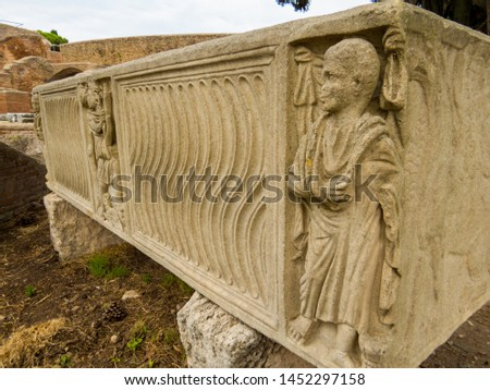 Ancient Roman Sarcophagus, Archaeological Site of Ostia Antica in Rome, Italy #1452297158