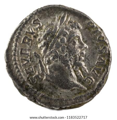 Ancient Roman silver denarius coin of Emperor Septimius Severus. Obverse. #1183522717