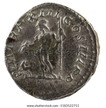 Ancient Roman silver denarius coin of Emperor Septimius Severus. Reverse. #1183522711