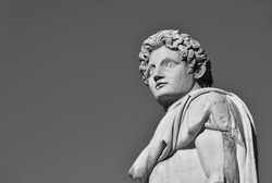 Ancient roman statue of Dioskouri at the top of Capitoline Hill in Rome, made in the 1st century BC (Black and White with copy space)
