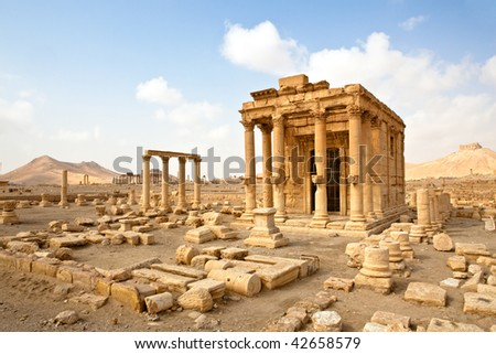 Ancient Roman time town in Palmyra (Tadmor), Syria. Greco-Roman & Persian Period. - stock photo
