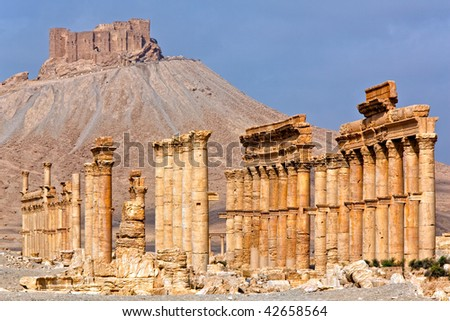 Ancient Roman time town in Palmyra (Tadmor), Syria. Greco-Roman & Persian Period. Fortress Qala'at Ibn Maan - stock photo