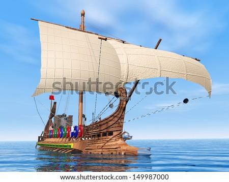 Ancient Roman Warship Computer generated 3D illustration