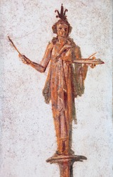 Ancient Rome, decoration of a female figure in a fresco of ancient Pompeii
