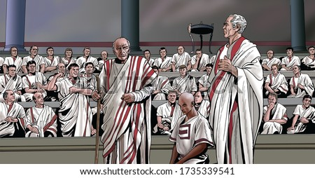Ancient Rome - Quintus Fabius Maximus is commissioned by the Roman Senate Foto stock ©