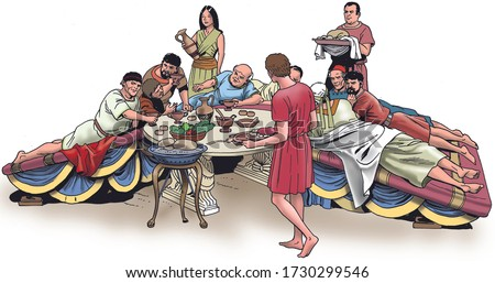Ancient Rome - Roman Patrician dine on tricliniums, a formal dining room in a Roman building