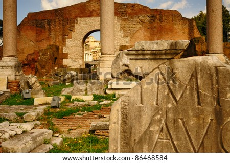 Ancient Rome. Ruins of the Forum Romanum in Rome, Italy, Ancient times in Europe.