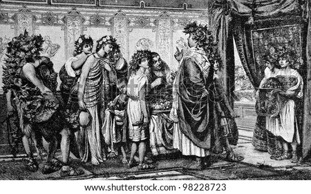 """Ancient Rome: The Senator and his slaves. Engraving by Rott from picture by Baur. Published in magazine """"Niva"""", publishing house A.F. Marx, St. Petersburg, Russia, 1888"""