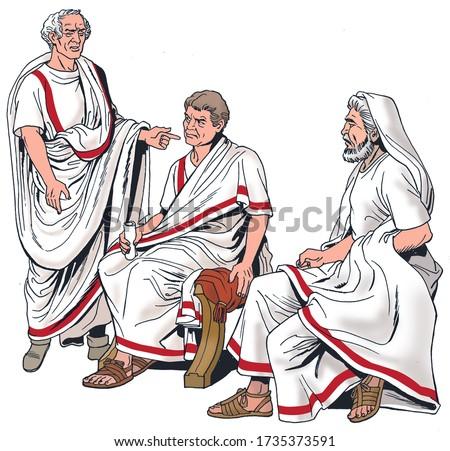 Ancient Rome - Three Roman Senators Foto stock ©