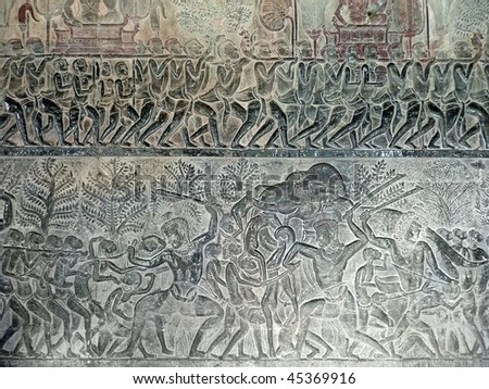 Ancient Royal Ceremony on Relief in Angkor Wat Temple Wall, Cambodia