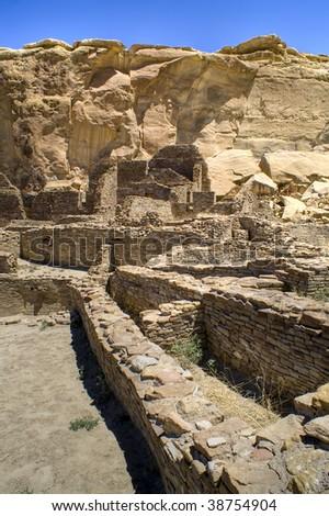 Ancient Ruins at Chaco Canyon, New Mexico - stock photo