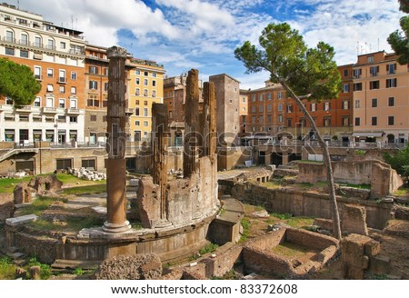 Ancient ruins at Largo Argentina. Rome. Italy