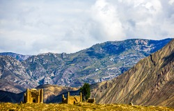 Ancient ruins in the mountains. Mountain village ruins. Village ruins in mountains